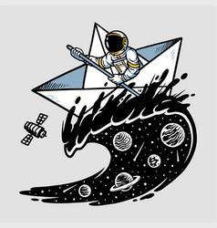Astronauts sailing in oceans universe vector