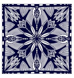 Black bandana print oriental floral shawl pattern vector