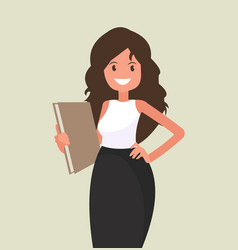 business woman with a folder in her hands vector image