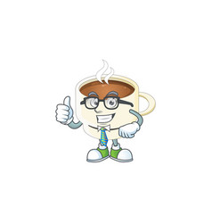 Businessman character cup coffee in cartoon mascot vector
