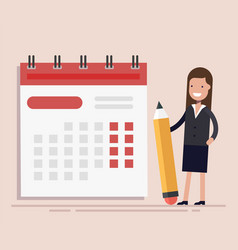 Businesswoman with pen and calendar planning and vector