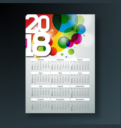 Calendar 2018 template with vector