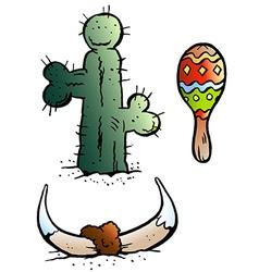 Cartoon of some Mexico elements like Maraca vector