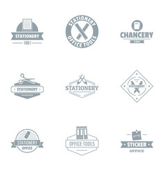 Chancellery logo set simple style vector