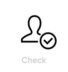 check customer icon editable line vector image