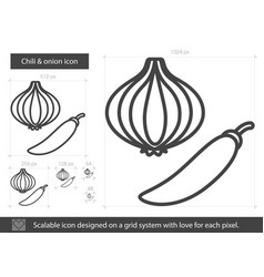 Chili and onion line icon vector