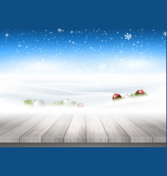 christmas background with wooden table looking vector image