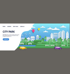 city landing page paper summer town in origami vector image