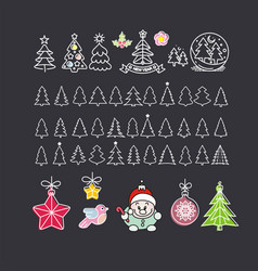 collection hand drawn christmas elements vector image