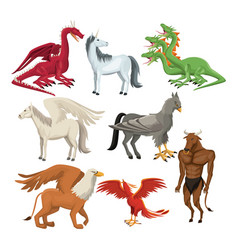 Colorful set animal greek mythological creatures vector