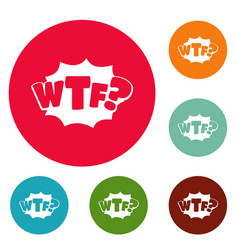 Comic boom wtf icons circle set vector