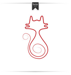 continuous red line drawing of cat vector image