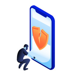 crack smartphone security icon isometric style vector image