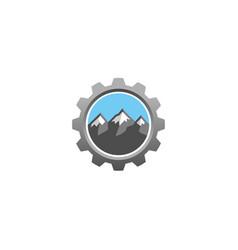 creative mountain gear logo design vector image