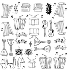 Doodle of musical tools collection vector
