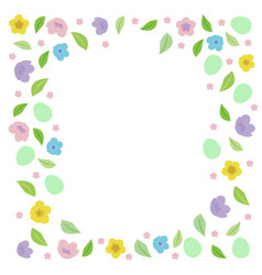 easter frame for text with eggs leaves vector image