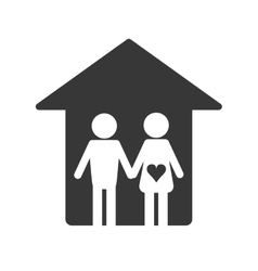 Family and house pictogram icon vector