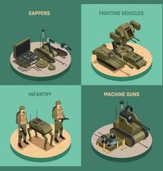 Fighting robots 2x2 design concept vector