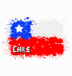 Flag of chile from blots of paint vector