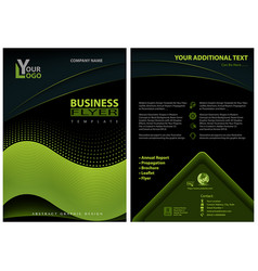 Flyer template with neon green graphic elements vector