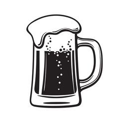 Glass mug beer hand drawn vector