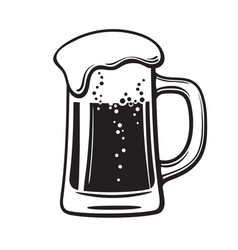 Glass mug of beer hand drawn vector