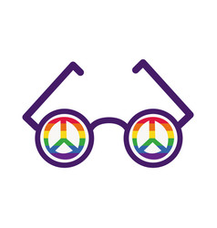 glasses with peace symbols gay pride hand draw vector image