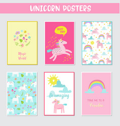 Greeting cards set with cute magic unicorns vector