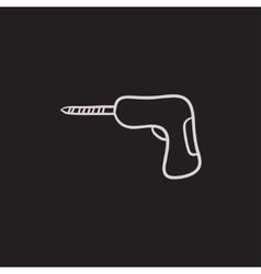Hammer drill sketch icon vector image
