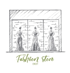 Hand drawn female mannequins in fashion shop vector image