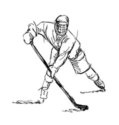 Hand sketch hockey player vector