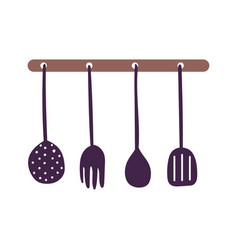 hanging cutlery utensils cooking isolated icon vector image