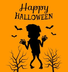 happy halloween poster with silhouette zombie vector image