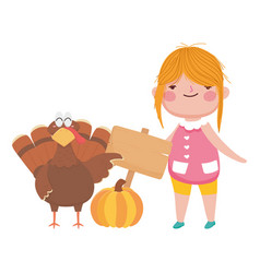 happy thanksgiving day cute girl with turkey vector image
