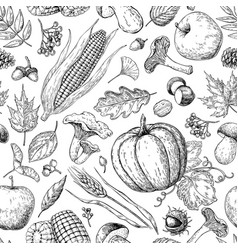 Harvest products seamless pattern hand drawn vector