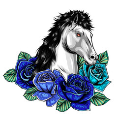 Horse head with flowers image vector