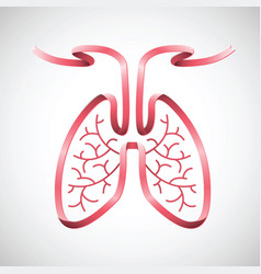 Human lungs in pink ribbon shape color vector
