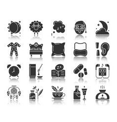 Insomnia black silhouette icons set vector