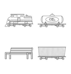 isolated object of train and station symbol set vector image