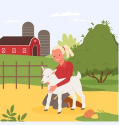 Kid and farm animal summer holidays at village vector