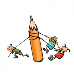 kids pull big pencil vector image