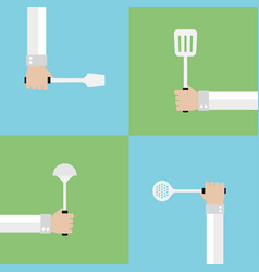 kitchen tools modern flat set vector image