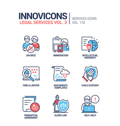 legal services - line design style icons set vector image