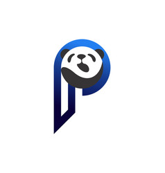 letter p panda logo icon vector image