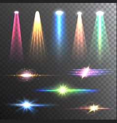 Light beams color on black composition vector