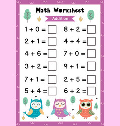 Math worksheet for kids addition mathematic vector