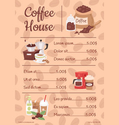 menu for coffee house with price list vector image