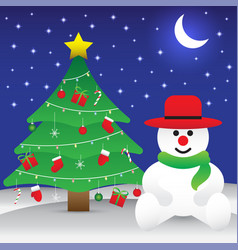 merry christmas - snowman sitting next to vector image