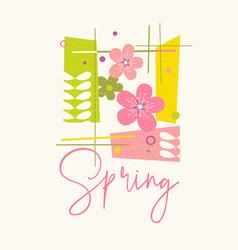 Mid century modern spring poster design vector