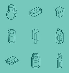 milk flat outline isometric icons vector image